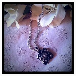 Vintage Black Enamel & Aurora Borealis Necklace